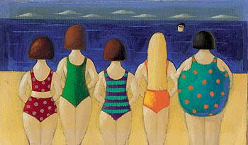 "Paul Greenwood Hand Numbered Limited Edition Print on Paper: ""Beach Babes"""
