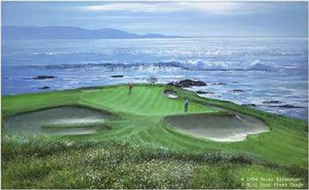"""Peter Ellenshaw Hand Signed and Numbered Limited Edition Print :"""" Pebble Beach 7th Hole """""""