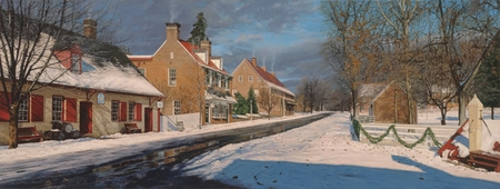 "Phillip Philbeck Hand Signed and Numbered Limited Edition Giclee on Paper and Canvas: ""Main Street in Old Salem """
