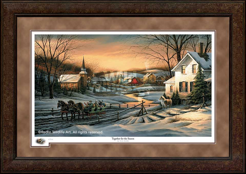 terry redlin premium framed 2016 limited edition holiday printtogether for the season