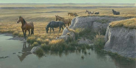 "Robert Bateman Handsigned and Numbered Limited Edition:""Mustang Country"""