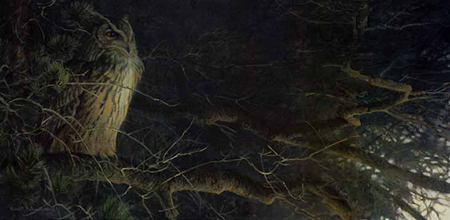"Robert Bateman Limited Edition Paper Print:""Nightfall - Eagle Owl"""