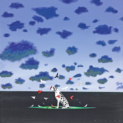 "Robert Deyber Artist Signed Limited Edition Hand-crafted Stone Lithograph:""The Bird Dog"""