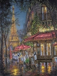 """Robert Finale Hand Signed and Numbered Limited Edition Hand-Embellished Giclee on Canvas:""""Toast to Paris"""""""