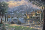 "Robert Finale Hand Signed and Numbered Limited Edition Hand-Embellished Giclee on Canvas:""Villa Balbianello, Lake Como"""
