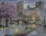 "Robert Finale Handsigned and Numbered Limited Edition Hand-Embellished Giclee on Canvas:""Petals of Spring, Central Park"""