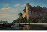 "Rodel Gonzalez Limited Edition Giclee on canvas:""Anchored in the Bay"""