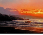 "Rodel Gonzalez Limited Edition Giclee on canvas:""Golden Sunset"""