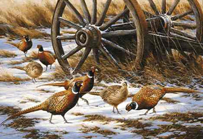 "Rosemary Millette Limited Edition Print: ""Winter Rendezvous-Pheasants"""