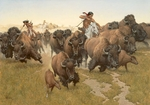 "Frank McCarthy Hand Numbered Anniversary Edition Canvas Giclee ""Amidst the Thundering Herd"""
