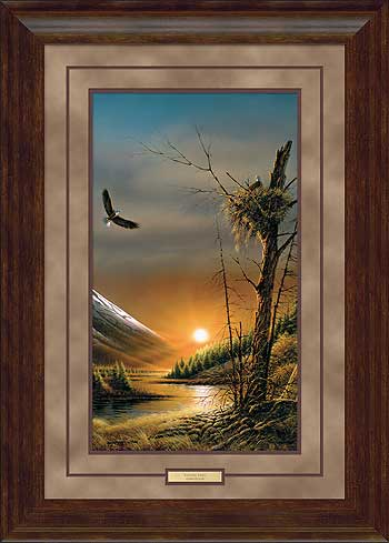 terry redlin framed pinacle edition printflying free bald eagles