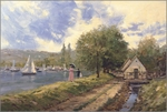 """Thomas Kinkade Countersigned Robert Girrard Limited Edition Giclee on Paper And Canvas:"""" Lakeside Stroll """""""
