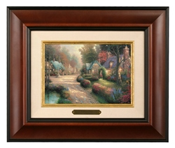 "Thomas Kinakde Open Edition Canvas:"" Cobblestone Lane - Brushwork (Burl Frame) """