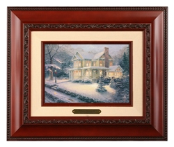 "Thomas Kinakde Open Edition Canvas:"" Victorian Christmas III - Brushwork (Brandy Frame) """