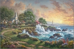 """Thomas Kinkade Signed and Numbered Limited Edition Print and Hand Embellished Canvas:""""Seaside Haven"""""""