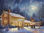 """Thomas Kinkade Signed and Numbered Limited Edition Print and Hand Embellished Canvas:""""National Lampoon�s Christmas Vacation"""""""