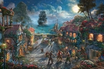 """Thomas Kinkade Disney Limited Edition Giclee:""""Pirates of the Caribbean - The Curse of the Black Pearl"""""""