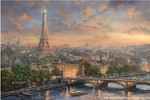 "Thomas Kinakde Limited Edition Giclee Print and Canvas:""Paris, City of Love"""