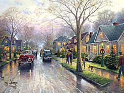 "Thomas Kinkade Signed and Numbered Limited Edition Embellished Canvas:""Hometown Christmas"""