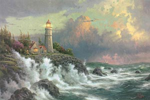 "Thomas Kinkade Signed and Numbered Limited Edition Hand Embellished Canvas:""Conquering the Storms"" (Seaside Memories Series)"