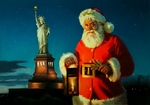 """Tom Browning Santa Limited Edition Canvas Giclee:""""Lighting the Way in New York"""""""