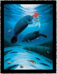 "Wyland Artist Signed Limited Edition Giclee on Hand Deckled Paper:""Little Mermaid Love"""