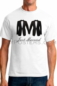 Two Tuxedos Just Married Gay Marriage T-Shirt - Click to enlarge