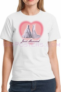 Two Wedding Dresses Just Married Gay Marriage T-Shirt - Click to enlarge