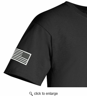 Made in USA T-Shirt - Sewn Reverse Flag - Black