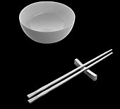 Carl Mertens Minamoto Porcelain Bowl with Stainless Chopsticks and Rest
