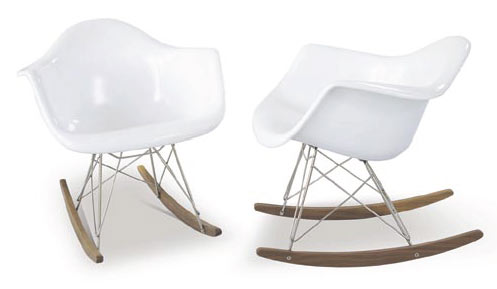 the molded plastic shell rocking chair features a fiberglass molded