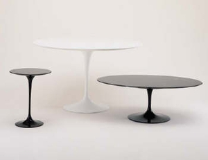 "Eero Saarinen Table with Absolute Black Granite Top - Oval 54""x78"" - Click to enlarge"