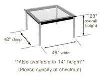 Le Corbusier Square Glass Top Table, base only - Click to enlarge