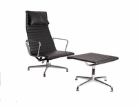 Leather Eames Classic style aluminum group lounge & ottoman