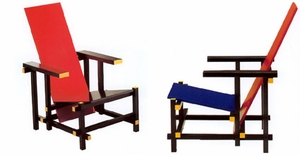 Rietveld Armchair Red/Blue - Click to enlarge