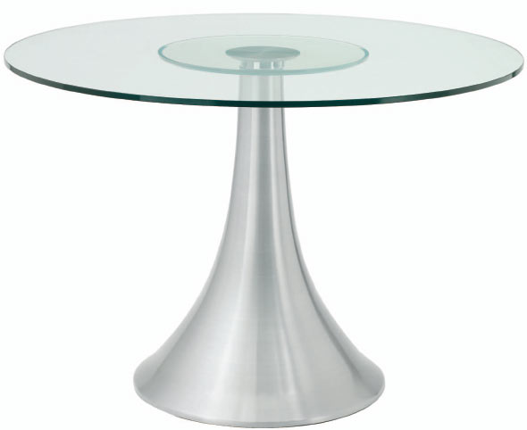 Shop Satellite 42 Round Aluminum Dining Table With Glass Top For Only