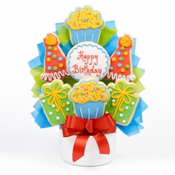 Birthday Party Cutout Cookie Bouquet