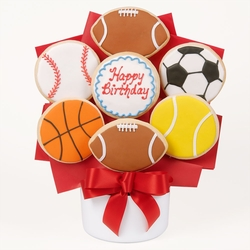 Happy Birthday Sports Cutout Cookie Bouquet
