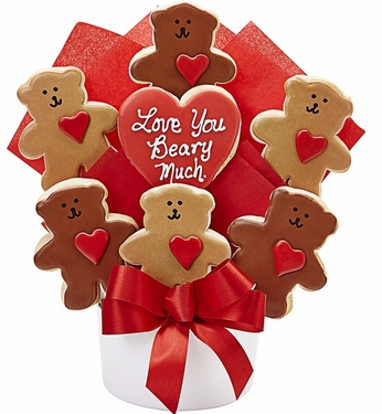 Love You Beary Much Cutout Cookie Bouquet