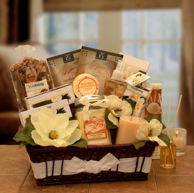 Candle Gift Baskets - Vanilla Essence Candle Gift Basket