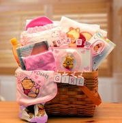 Winnie The Pooh New Baby Girl Basket