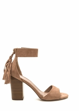 Two To Tassel Chunky Faux Suede Heels