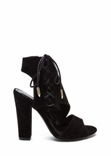 Strong Angles Faux Suede Chunky Heels