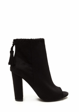 Stitched Up Faux Suede Tasseled Booties