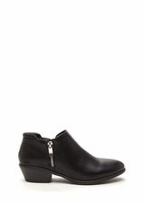 Zip A Beat Faux Leather Chunky Booties