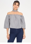 Chokers Wild Pinstriped Off-Shoulder Top
