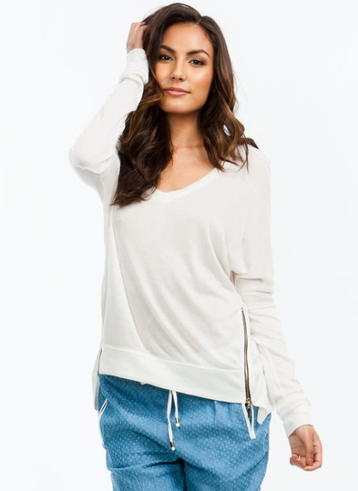 2 Way Zip High-Low Sweater