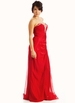 RED Strapless Embellished Sweetheart Formal