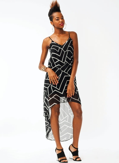 Abstract High-Low Dress