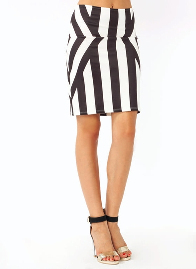 Abstract Stripe Pencil Skirt